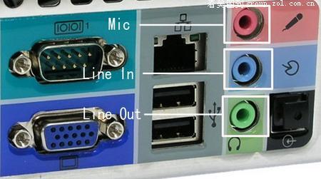 靠近com接口,通过音频线用来连接音箱的line接口