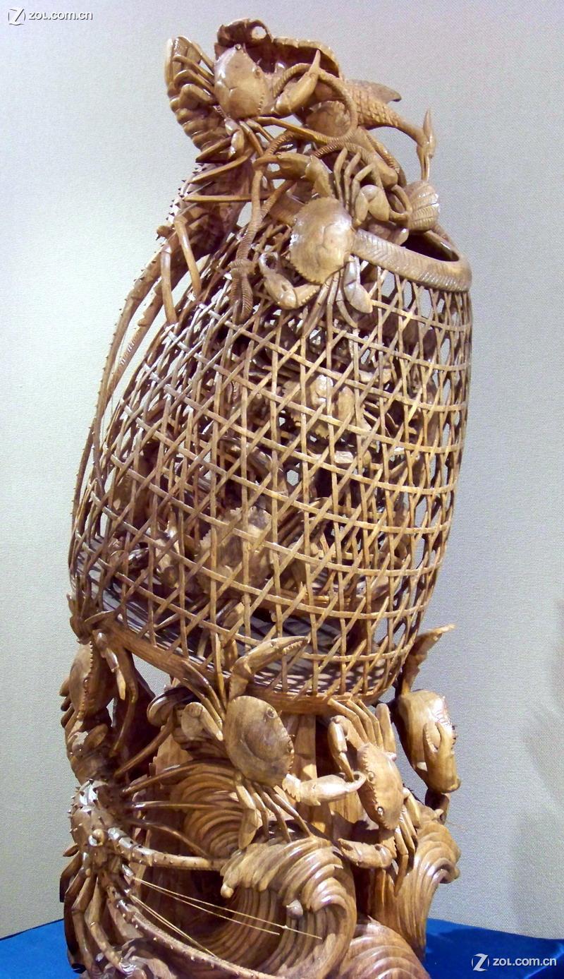 蟹篮木雕的图片