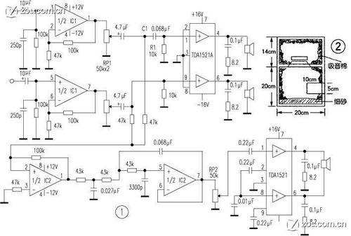 tda1521低音炮电路图