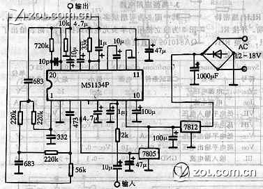 m51134p低音炮电路图