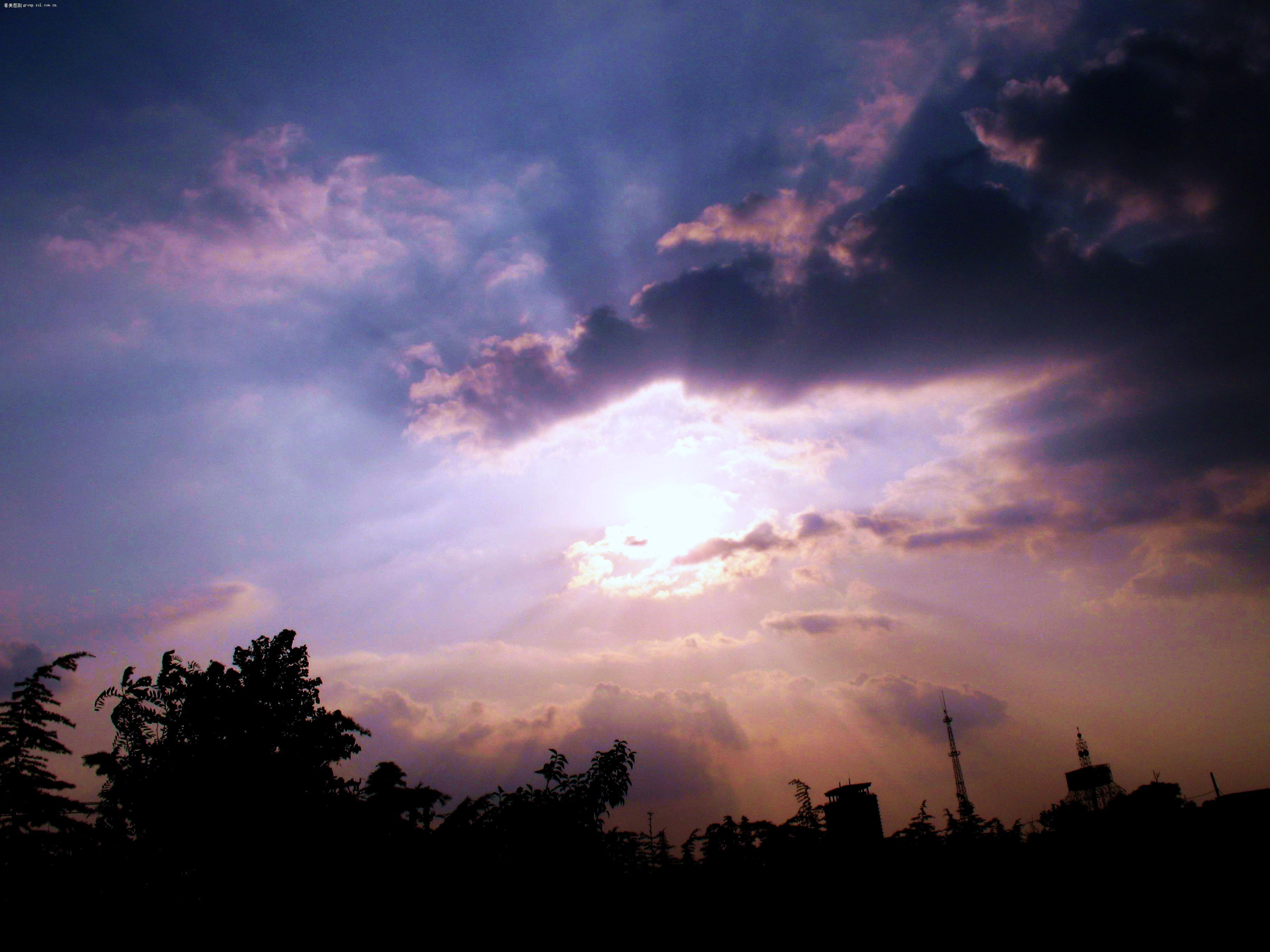 【蓝天白云 小花 乌云中的太阳】佳能